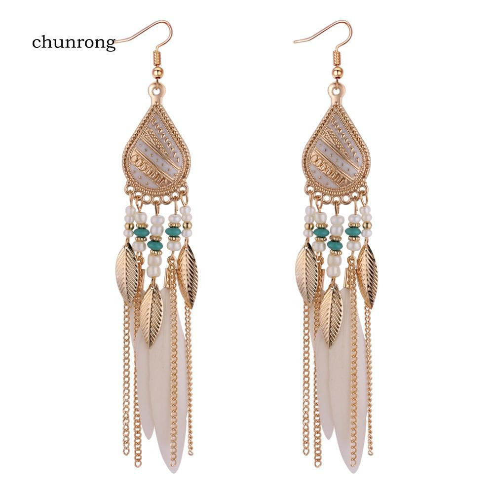 BSM1_Bohemian Women Long Flower Earrings Acrylic Vintage Party Banquet Jewelry Gift | Shopee Indonesia