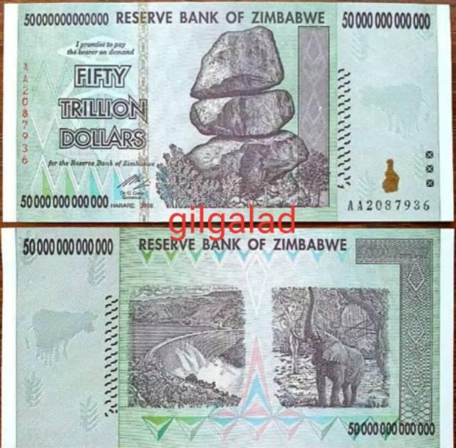 Zimbabwe 50 Trilion Dollar Uang Kertas