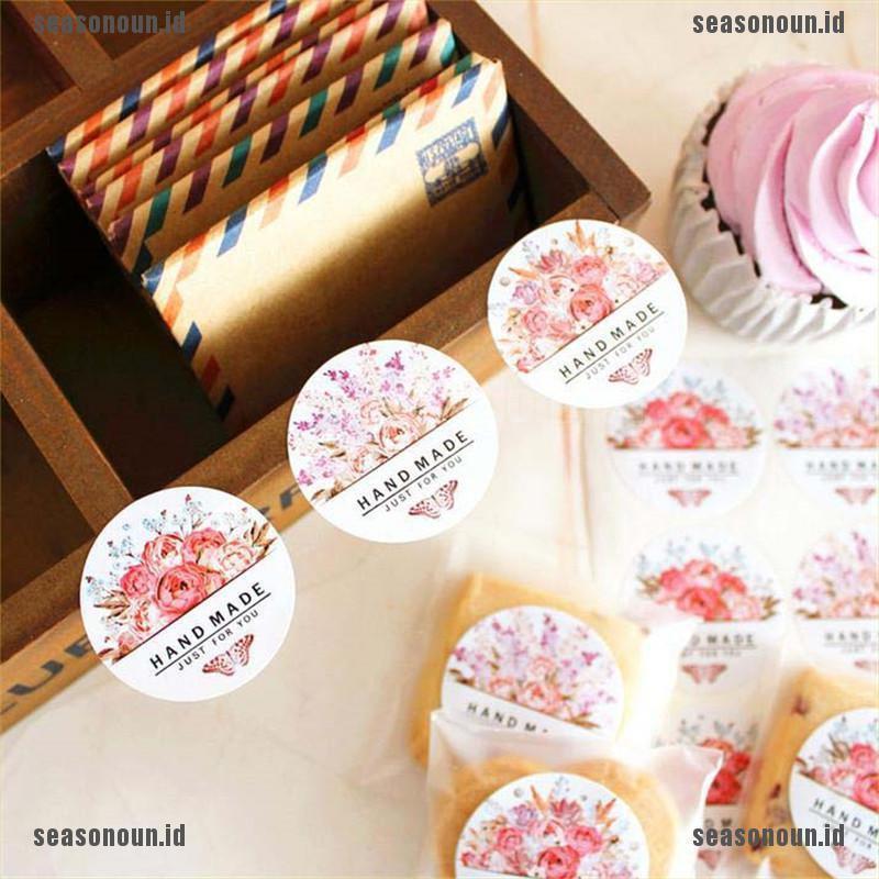 (Sea) 54pcs/lot Stiker Label Makanan Desain Bunga Buatan Tangan Untuk Pesta Pernikahan