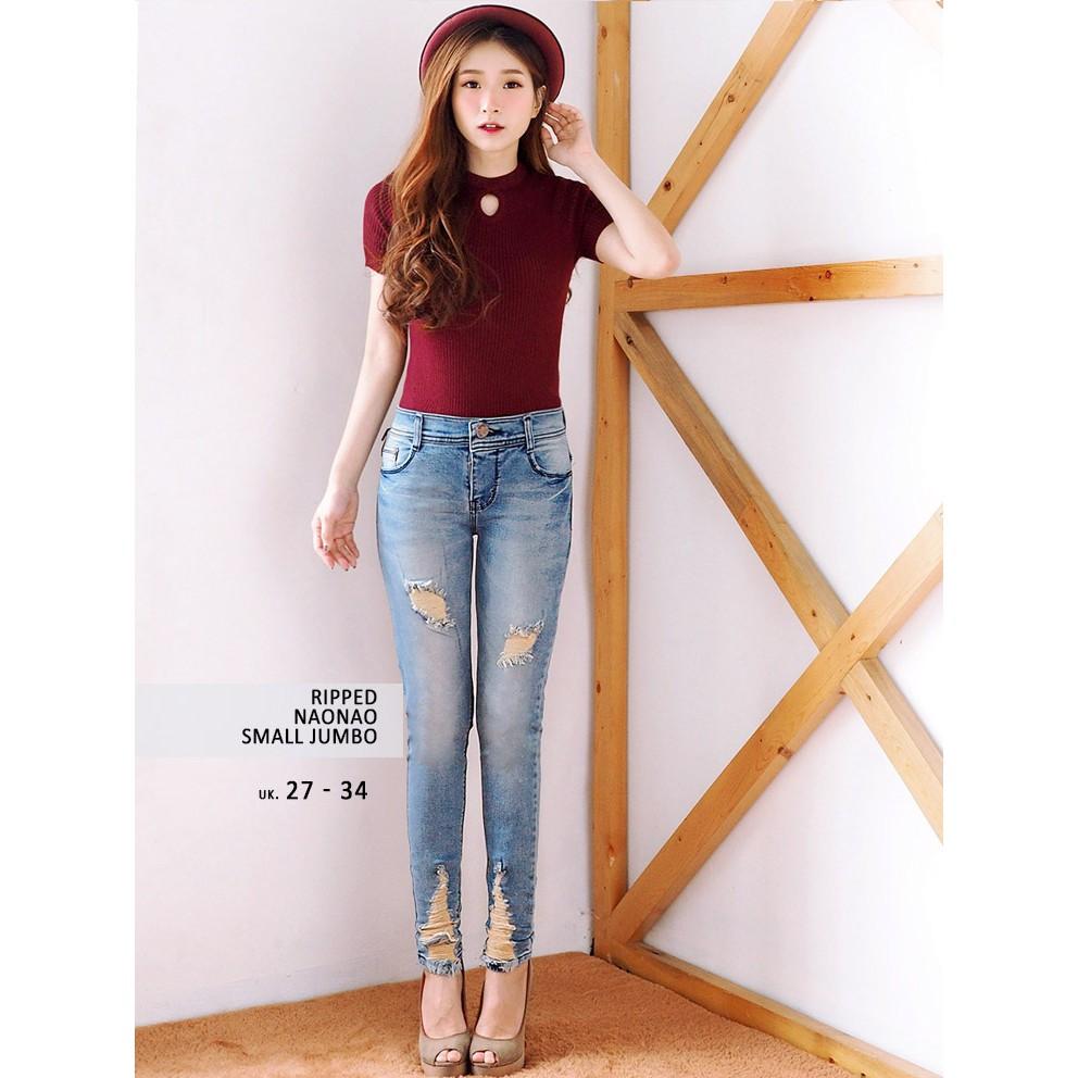 Celana Skinny Jeans Jumbo Wanita - List Snow DMD Ancien Store   Shopee Indonesia