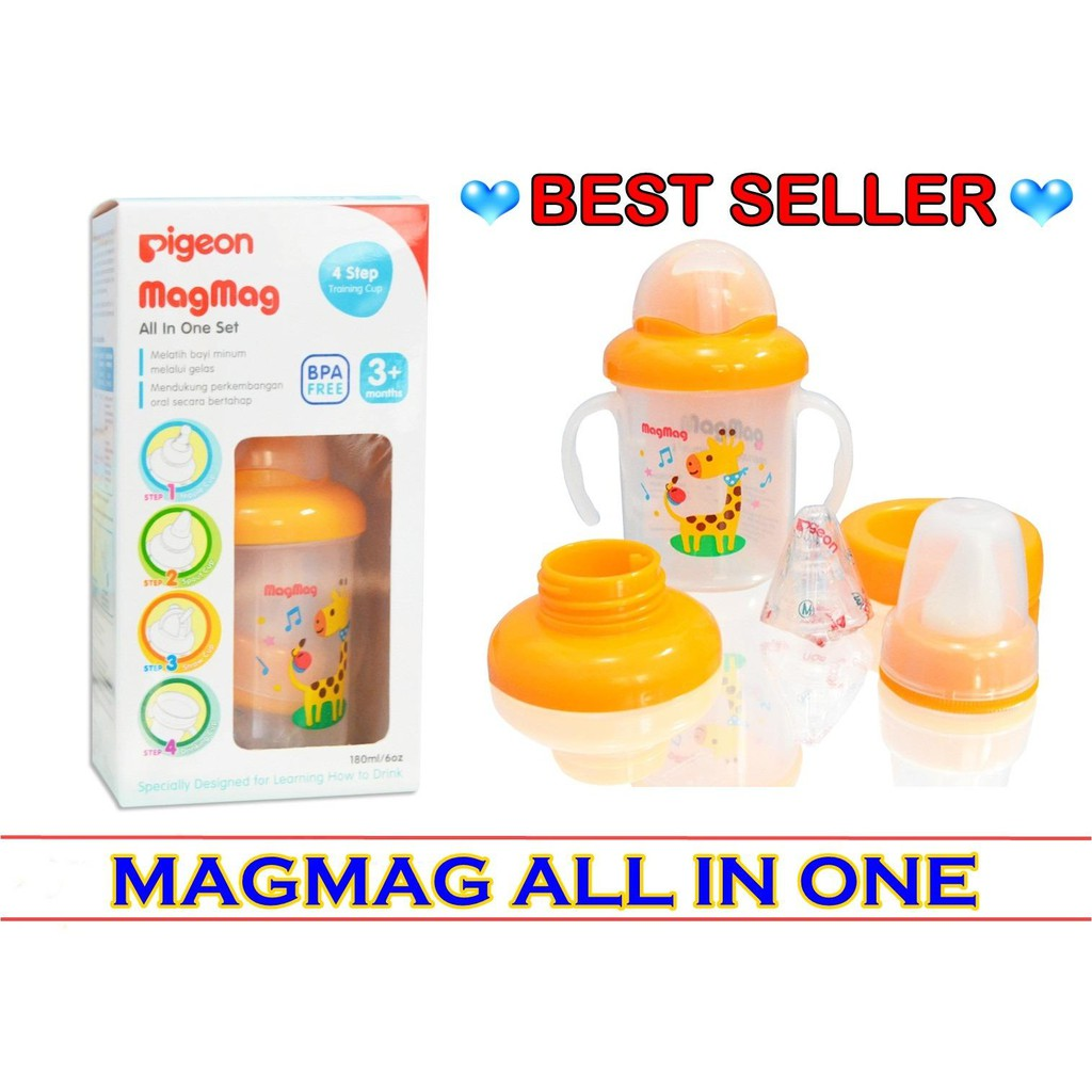 PIGEON Magmag Mag-Mag Mag Mag All In One Set Gelas Botol Minum Anak Bayi  Training Cup System Step 3  9672819c7a