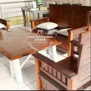 Meja Kursi Ruang Tamu Minimalis Kayu Jati Free Ongkir