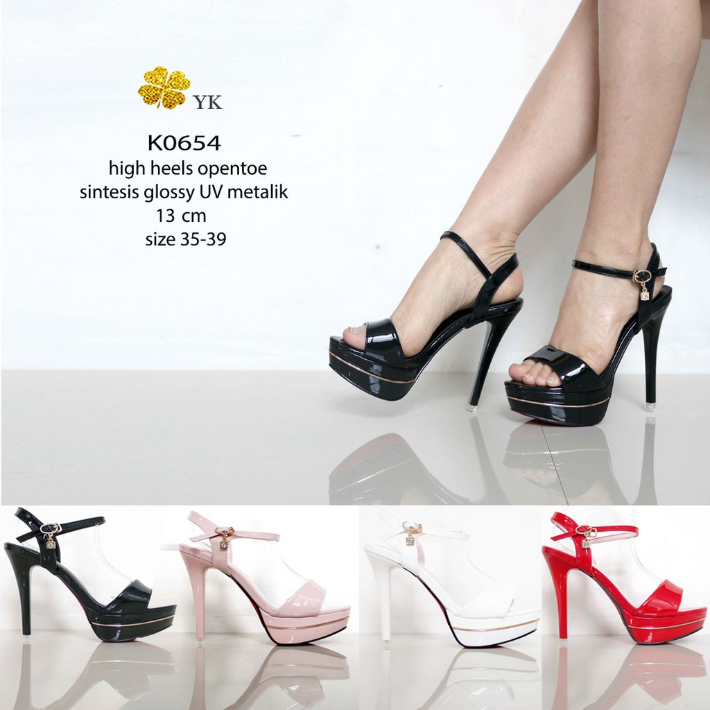 c6efc344ed8 YKshoes 0994 peeptoe high heels 13cm 13 cm sepatu wanita shoes import hitam  cream bartier ladiess