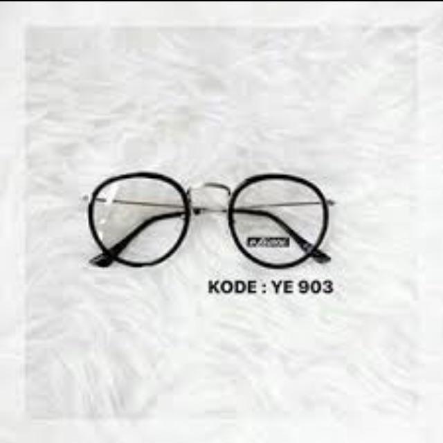 Kacamata YE 903 kaca bening frame hitam silver  d49ef5f9a1