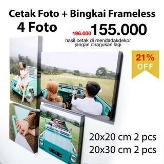 cetak foto bingkai murah 4 pcs 100ribu an + bingkai foto