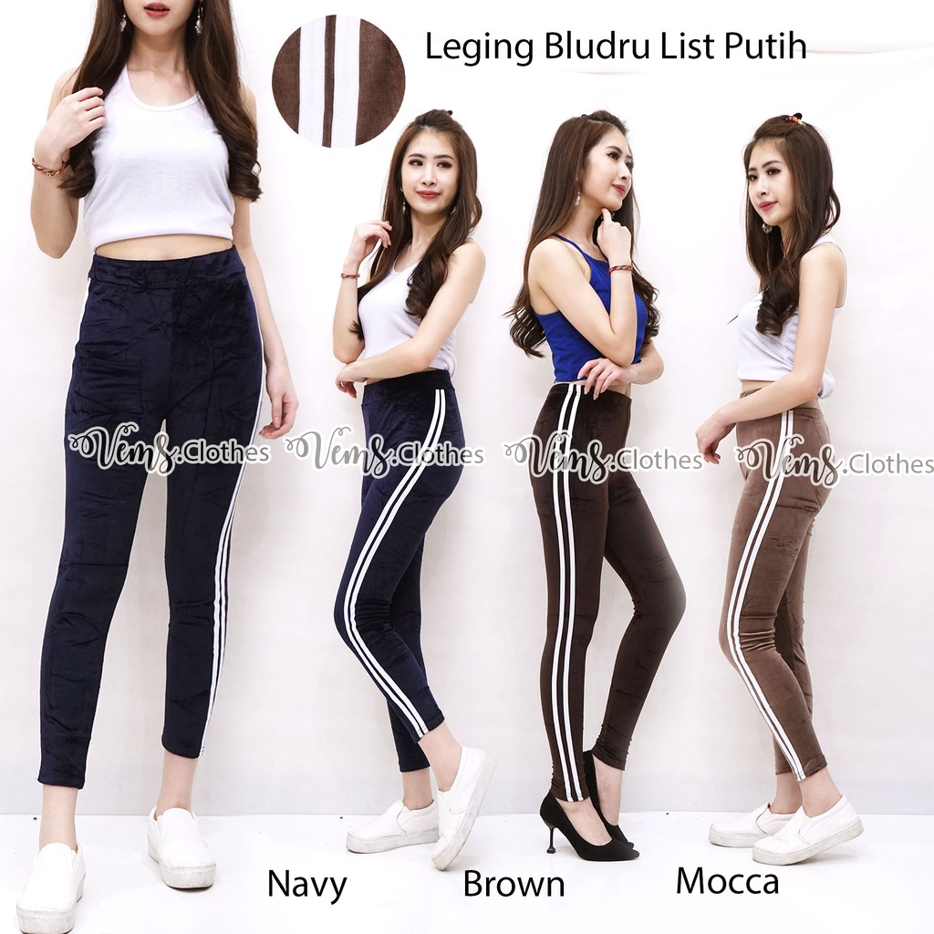 Legging Bulu Bludru List Bottom Pants Celana Panjang Shopee Indonesia