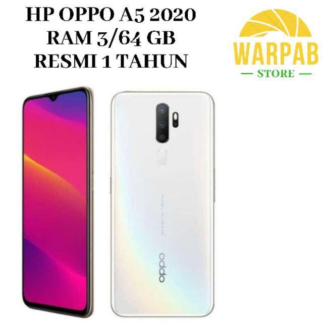 TERBARU HP OPPO A5 2020 3/64 GB - OPO A 5 RAM 3GB INTERNAL 64GB GARANSI RESMI-Putih