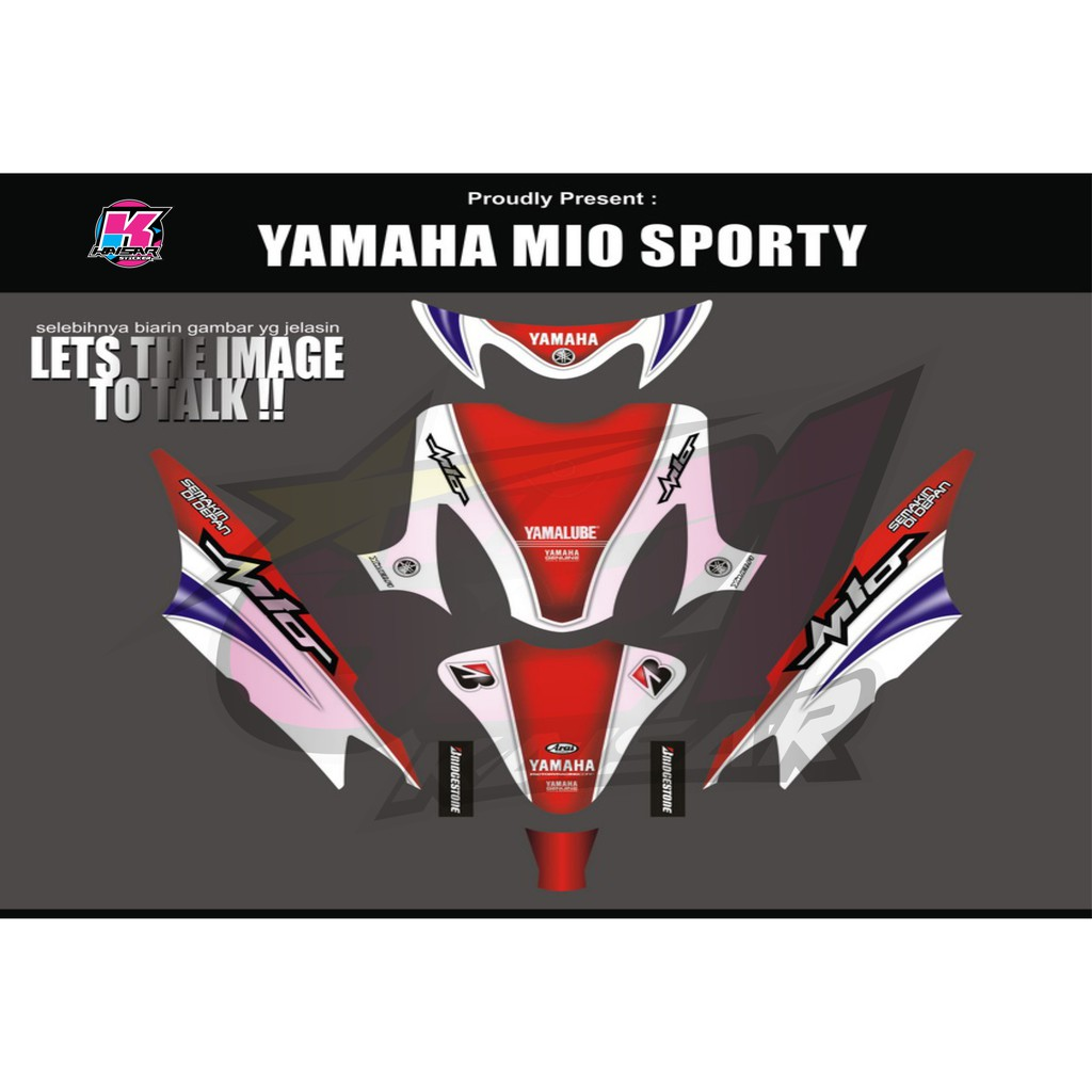 Sticker striping motor stiker yamaha mio sporty 93 shopee indonesia