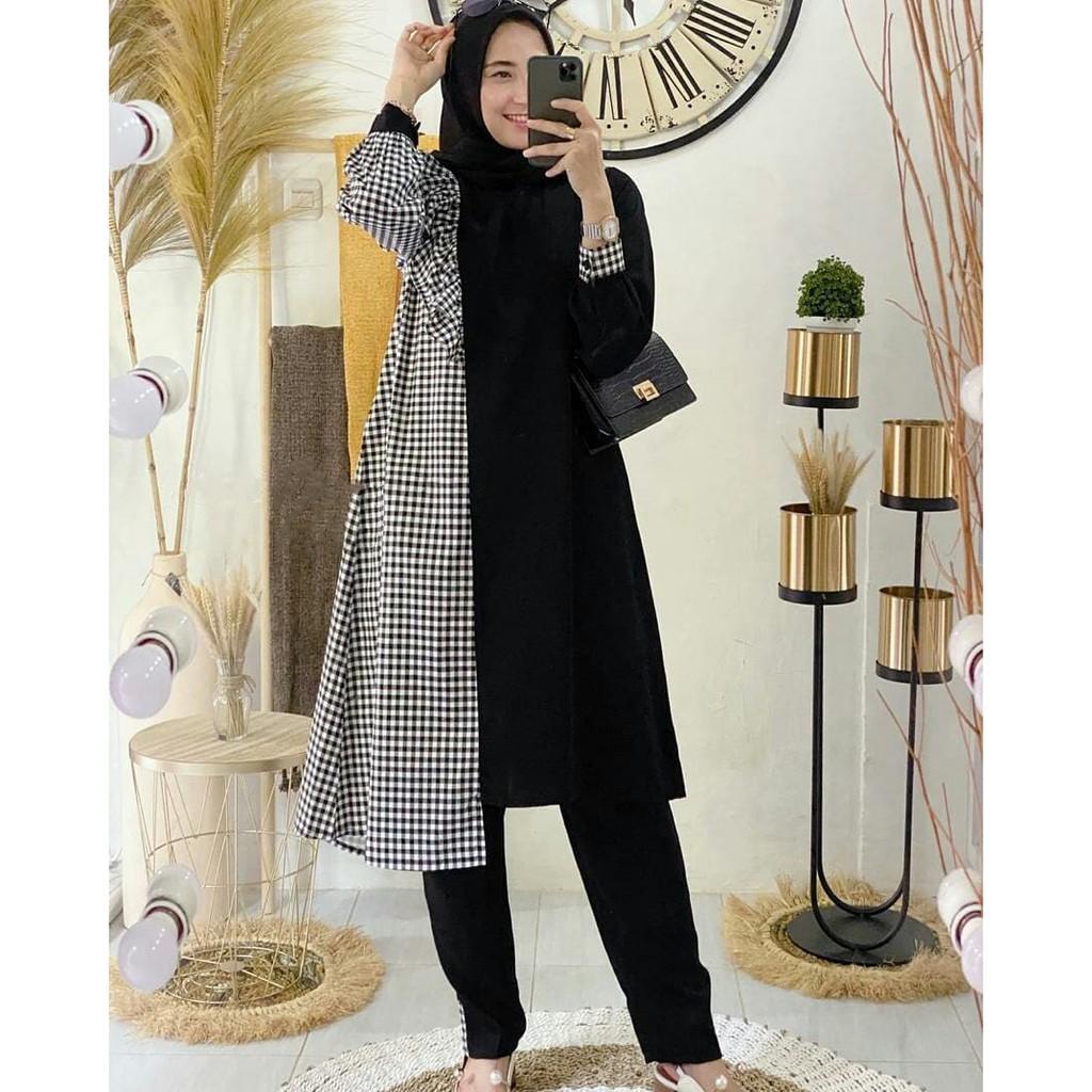 Outfit Modern Nakuma Set Stelan Baju Muslim Plus Celana Panjang Fashion Wanita Shopee Indonesia