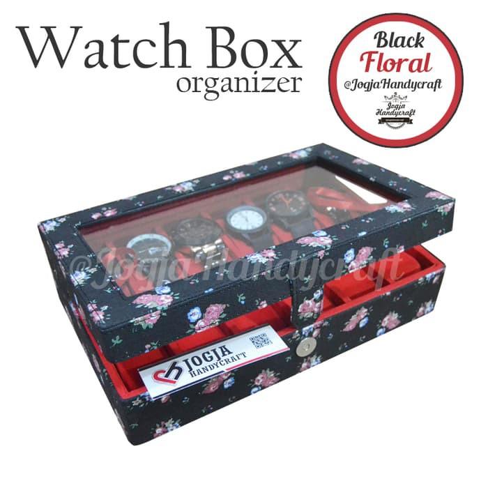 KOTAK JAM TANGAN   BOX JAM   TEMPAT JAM TANGAN ISI 24 BLACK FLORAL   Shopee