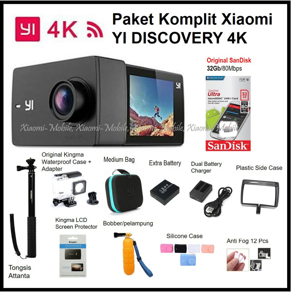 Xiaomi Yi Discovery 4K Action Camera Paket Komplit LCD Screen | Shopee Indonesia