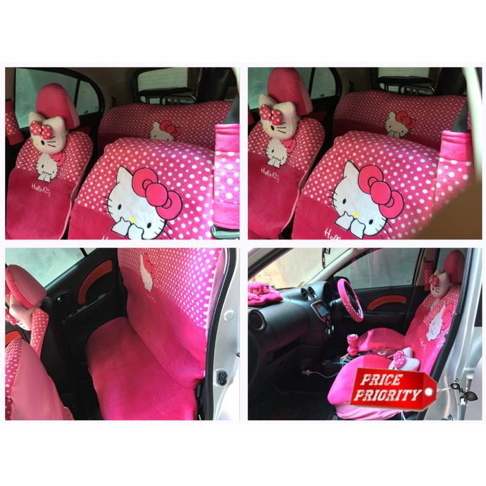 Sarung Jok Mobil Hello Kitty HK Pink 18 in 1 Mobil Bantal Mobil 18in1 Hello Kitty (2 Baris) - Pink | Shopee Indonesia