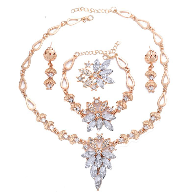 Vintage Crystal Flower Bridal Jewelry Sets Necklace Bracelet