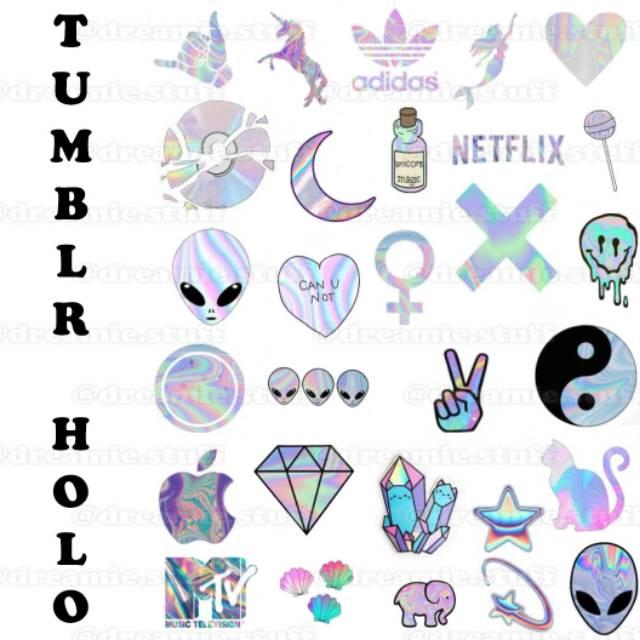 Tumblr Sticker Set Hologram Shopee Indonesia