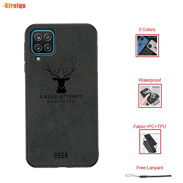 Samsung Galaxy A12 Hard Case Canvas PC Shockproof Deer Texture Case Covers【Free Lanyard】
