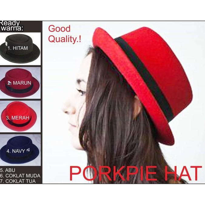 Topi Wanita Murah topi Porkpie Pork Pie hat bundar oval bulat vintage  tumblr Terbaru  647995c728