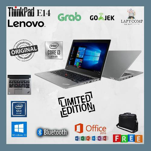 "LAPTOP BARU LENOVO THINKPAD E14 - INTEL i3-10110   8GB RAM   SSD 256GB   INTEL HD   LAYAR 14"" FHD"