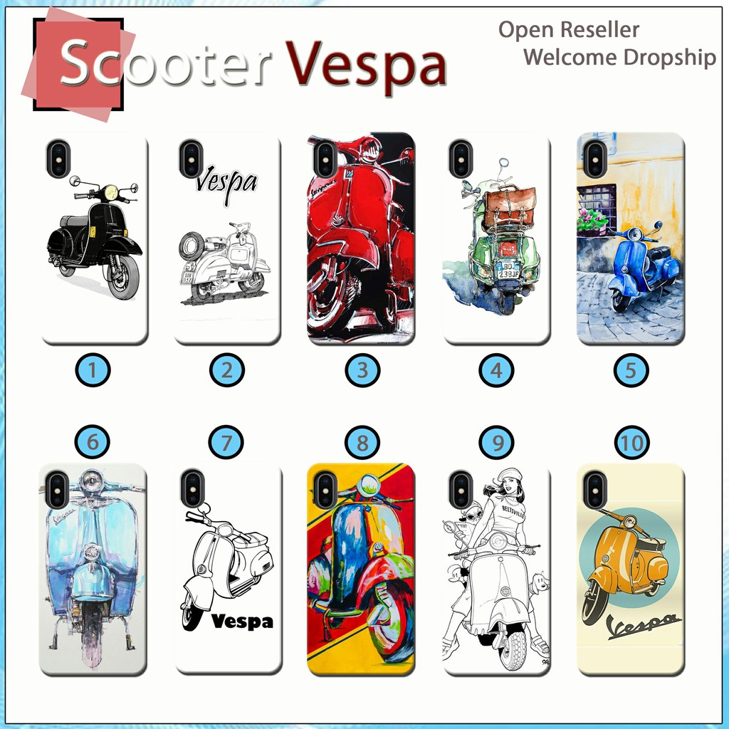 [JS 52] Case 3D Scooters Vespa For All Type Smartphone Fullprinting