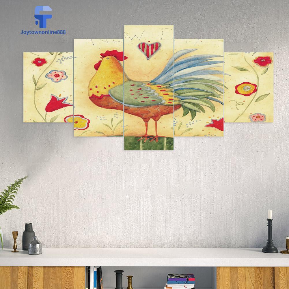 Joe ✰ 5Pcs Lukisan Diamond 5D DIY Gambar Ayam Jantan Untuk Dekorasi Rumah