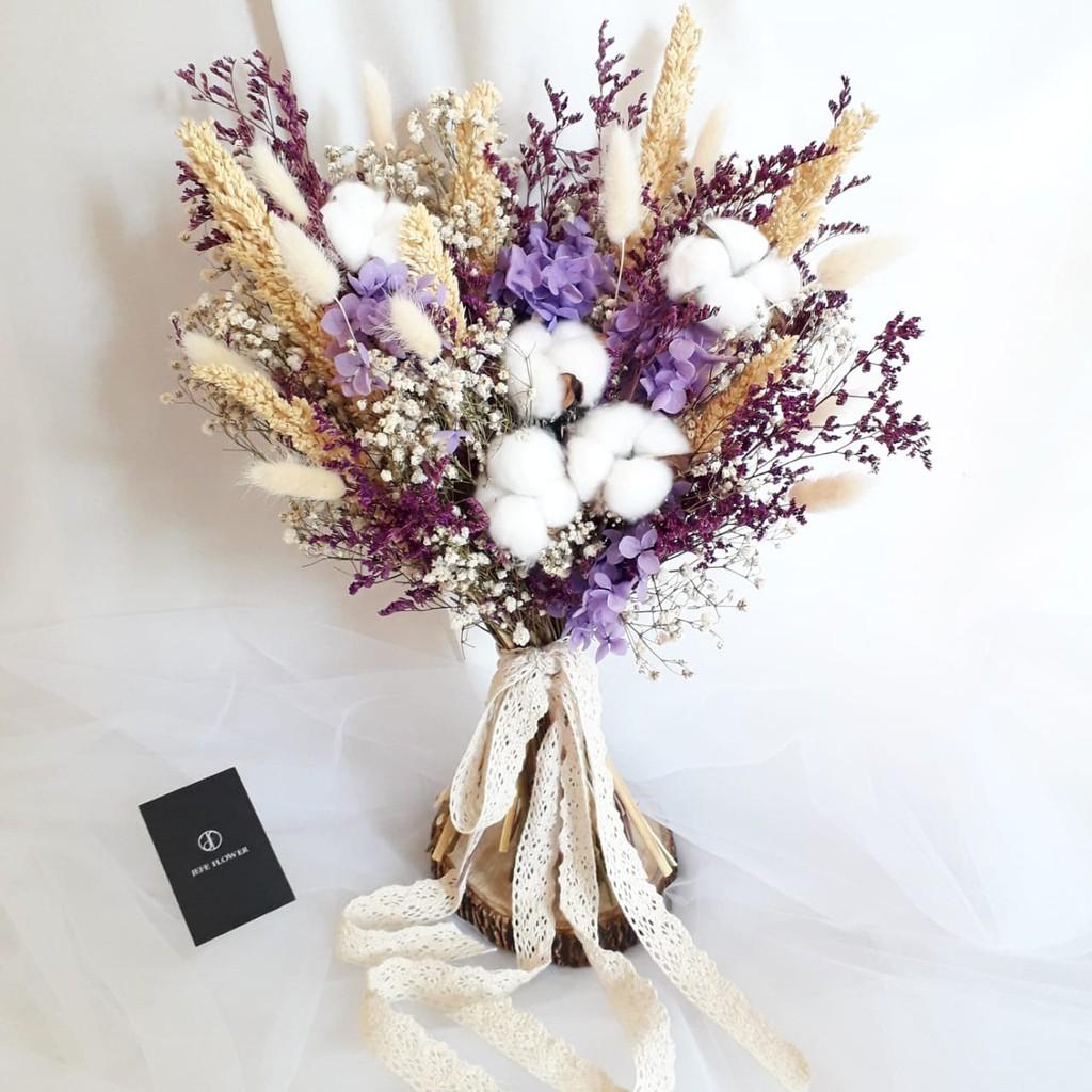 Soft Purple Wedding Bouquet Dried Flower Wedding Bouquet Hand Bouquet Shopee Indonesia