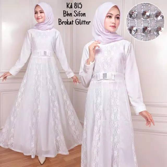 Dress Muslim Baju Muslim Wanita Baju Gamis Putih Broken White Sifon Kombinasi Brukat Shopee Indonesia