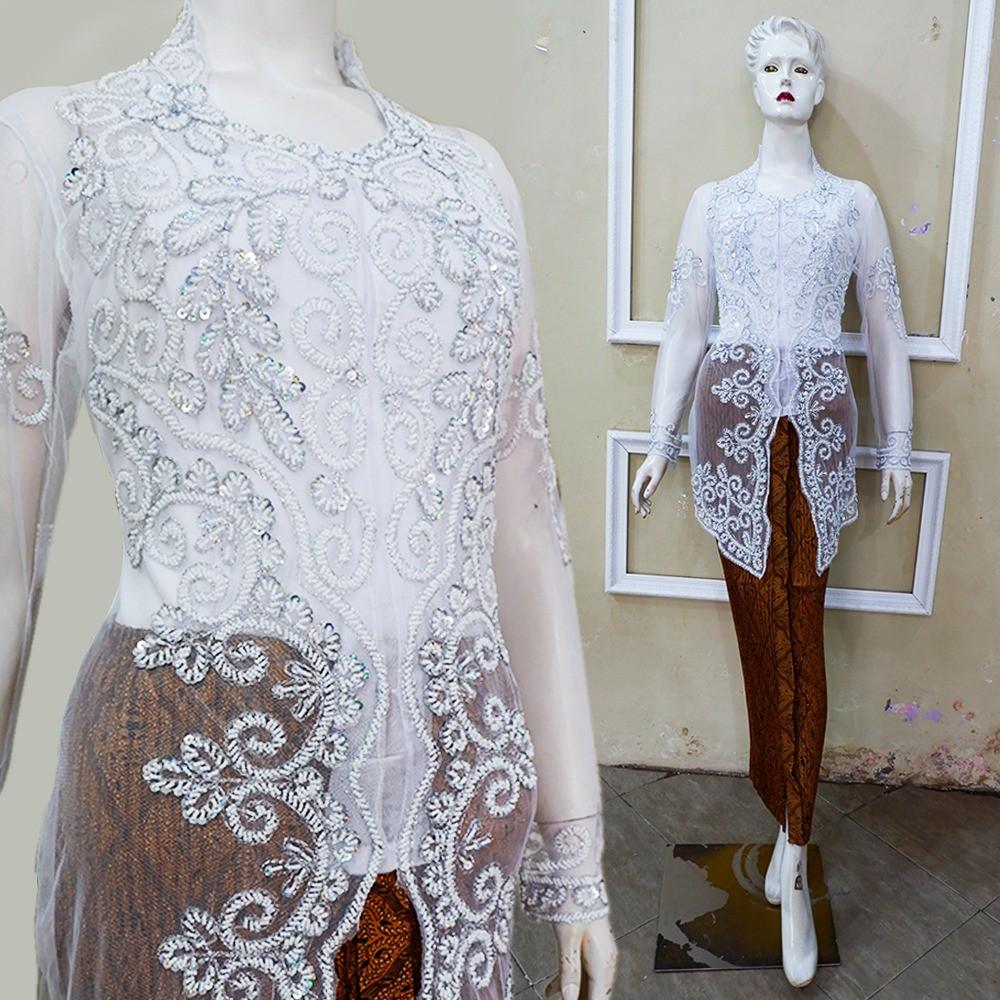 Set Kebaya Pengantin Baju Akad Modern Muslim ( Kebaya+rok+kamisol )