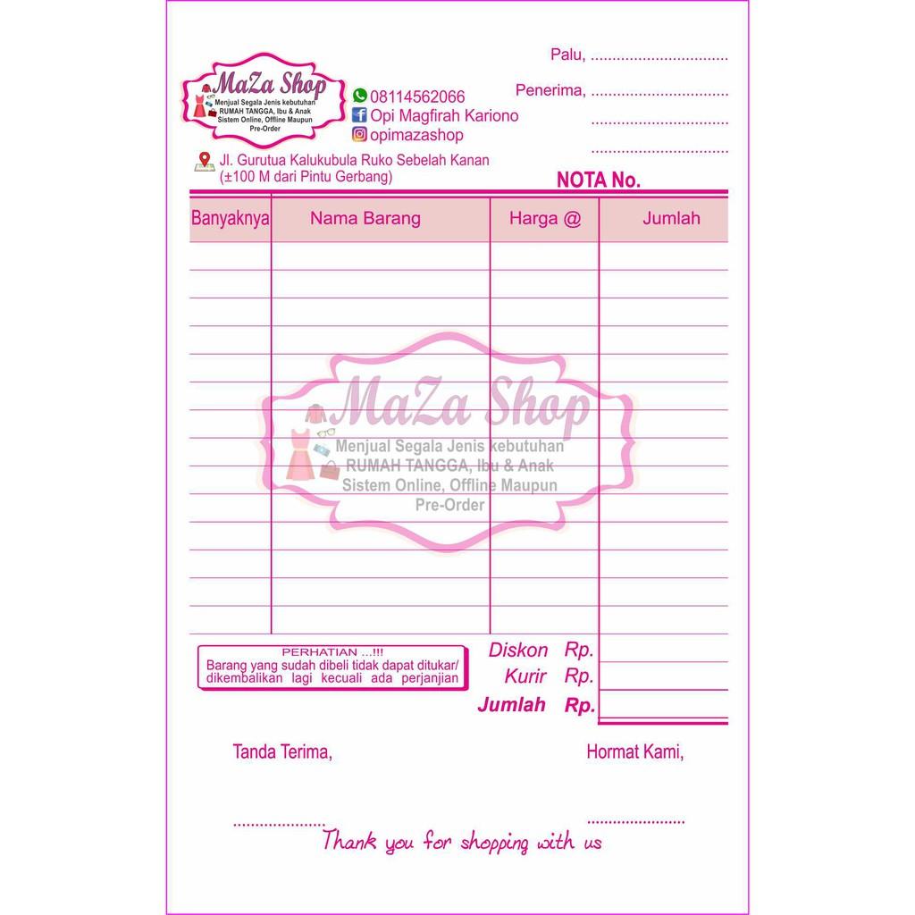 Nota Custom Paket Ukuran 14 Folio 20 Blok