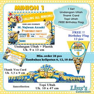 Souvenir Ultah 1 Set Paket Undangan Ultah Anak Kartu Souvenirtopi Ulang Tahun Minion