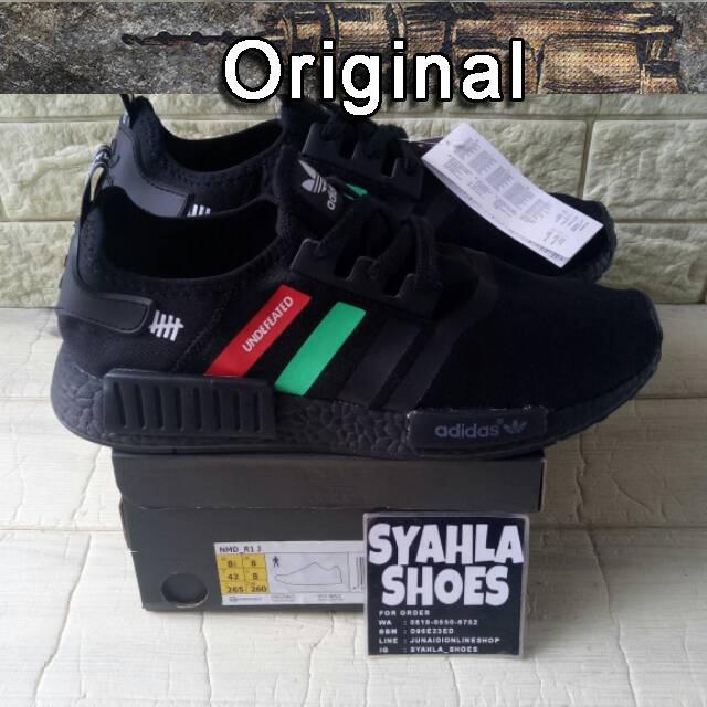 new product 0d001 73b6f Sepatu Sneakers Desain Adidas NMD R1 x Undefeated Warna Hitam / Hijau untuk  Pria