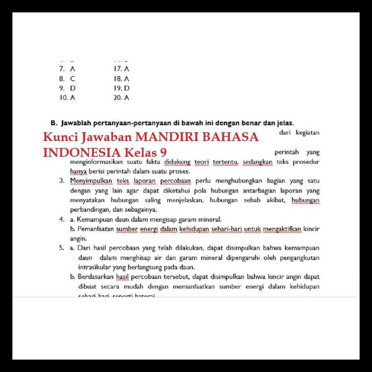 Kunci Jawaban Mandiri Bahasa Indonesia Kelas 9 Guru Galeri