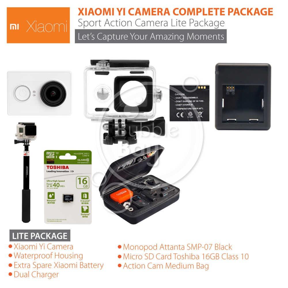 Xiaomi Yi Action Camera 16 Mp International Edition Hitam Putih Extra Battery Free Kotak Baterai Shopee Indonesia