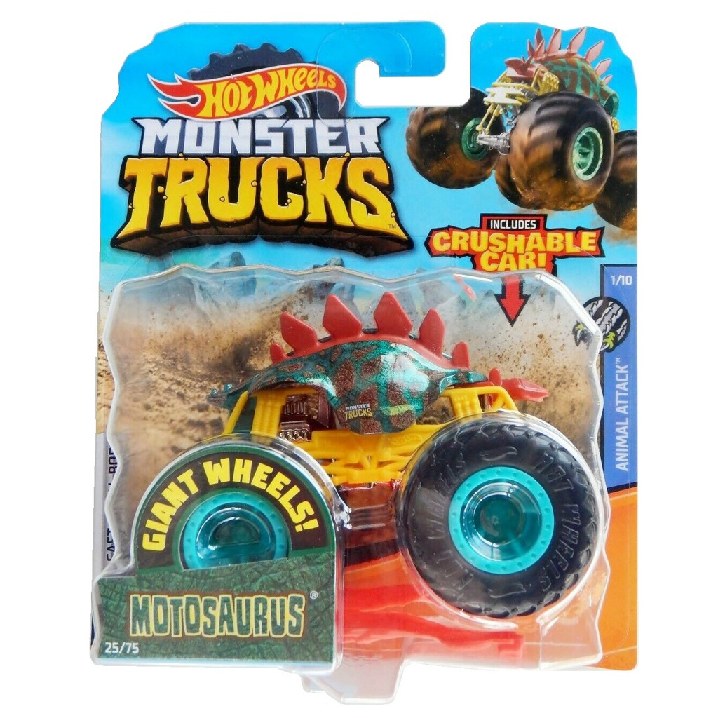 Hot Wheels Monster Trucks Crushable Car Animal Attack Motosaurus Shopee Indonesia