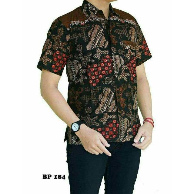 Kemeja Batik Pria Sutra: Hem Batik Sekar Jagad Tumpal Atas