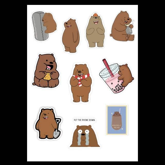 Sticker Tumblr Aesthetic We Bare Bears Wbb Ice Bear Pan Pan Grizz Shopee Indonesia