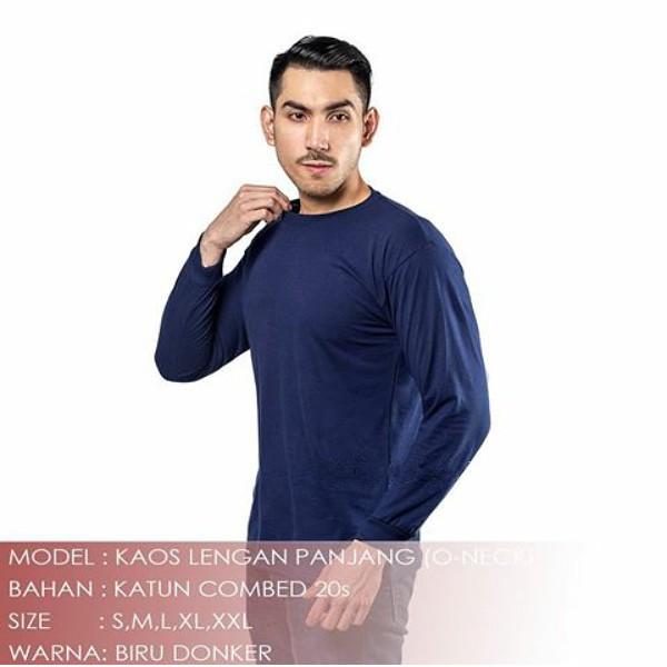 Lengan Panjang Manset Biru Dongker Polos Kaos Unisex Oneck 20s Cowok Cewek Size M Ml L Xl Xxl Shopee Indonesia