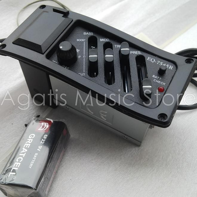 Perlengakapan Musik: EQ-7545R 4-Band EQ Equalizer Sistem Gitar Akustik Preamp Piezo