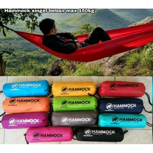 Hammock Single Ayunan Gantung Tempat Tidur Travel Camping Outdoor Gear 150 Kg Ultralight 300 X 150 Shopee Indonesia