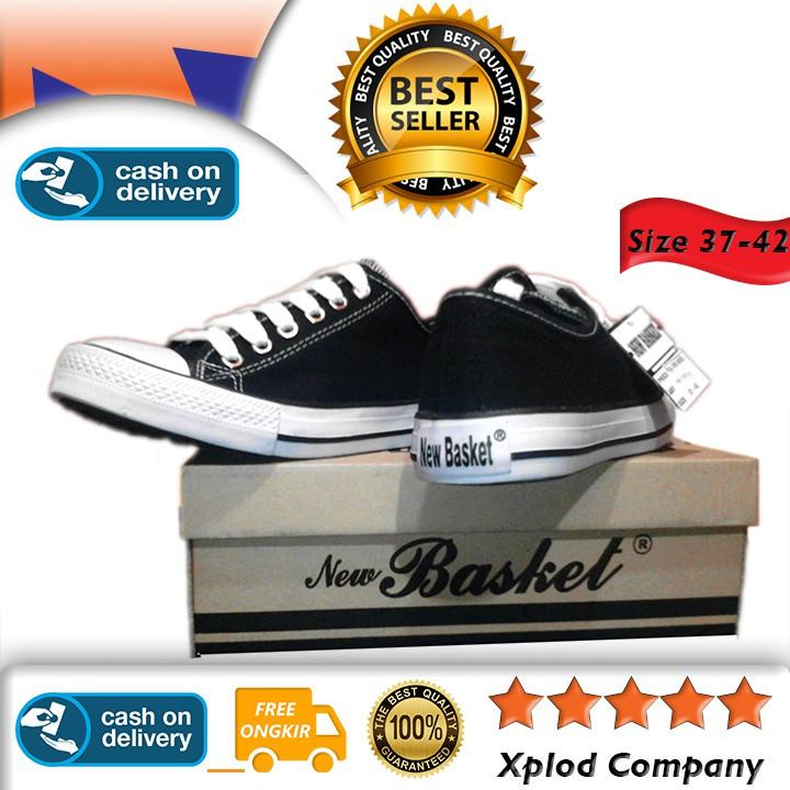 le dernier 497eb e0127 Ukuran 37 – 42 Sepatu Anak New Basket NB 338 LC Model Pendek Hitam - Putih  Sepatu Sekolah SMP SMA