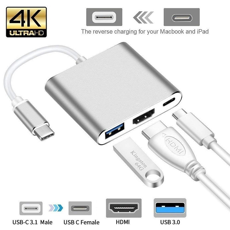 USB 3.1 Type C USB-C to 4K HDMI Converter Silver Adapter Cable for Apple MacBook