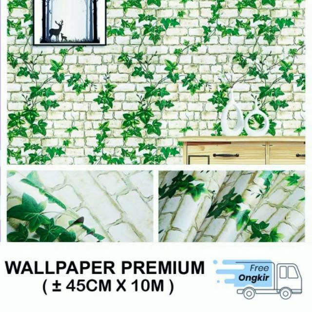 WALLPAPER DINDING GH005 BATA PUTIH DAUN 3D