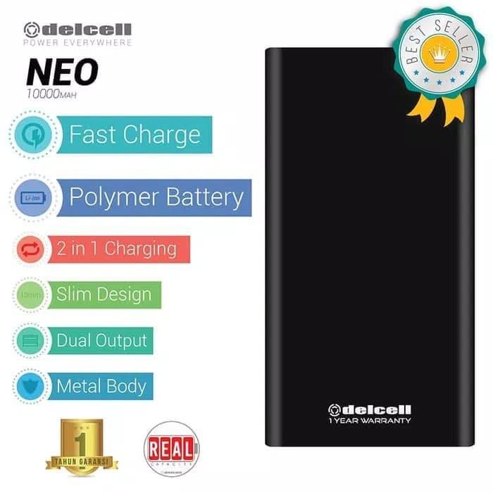 """EXCLUSIVE Power Bank Delcell NEO Original Real Capacity 10000mAh"""