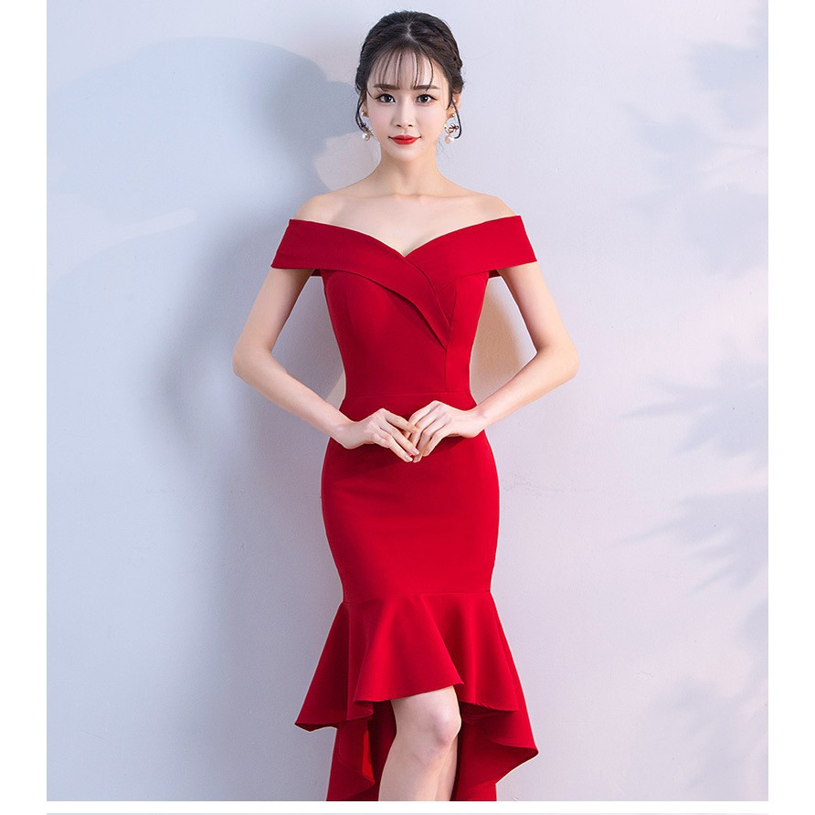 New Off Shoulder Women Wedding Dress Slim Lady Dinner Party Dresses evening  gown
