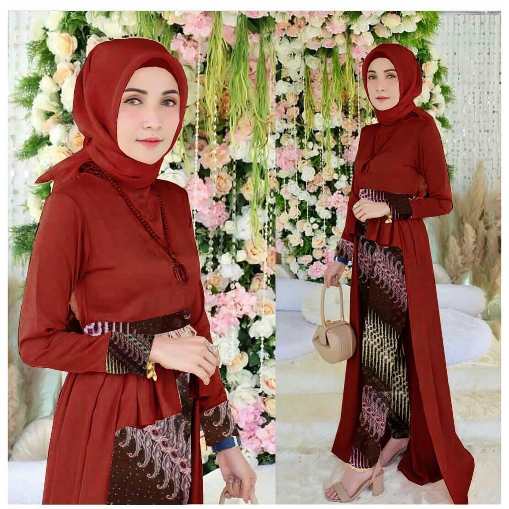 Terbaru Motif Batik Parang Kebaya Modern Muslim Wanita Gaun Pesta Ibu Menyusui Jumbo Wanita