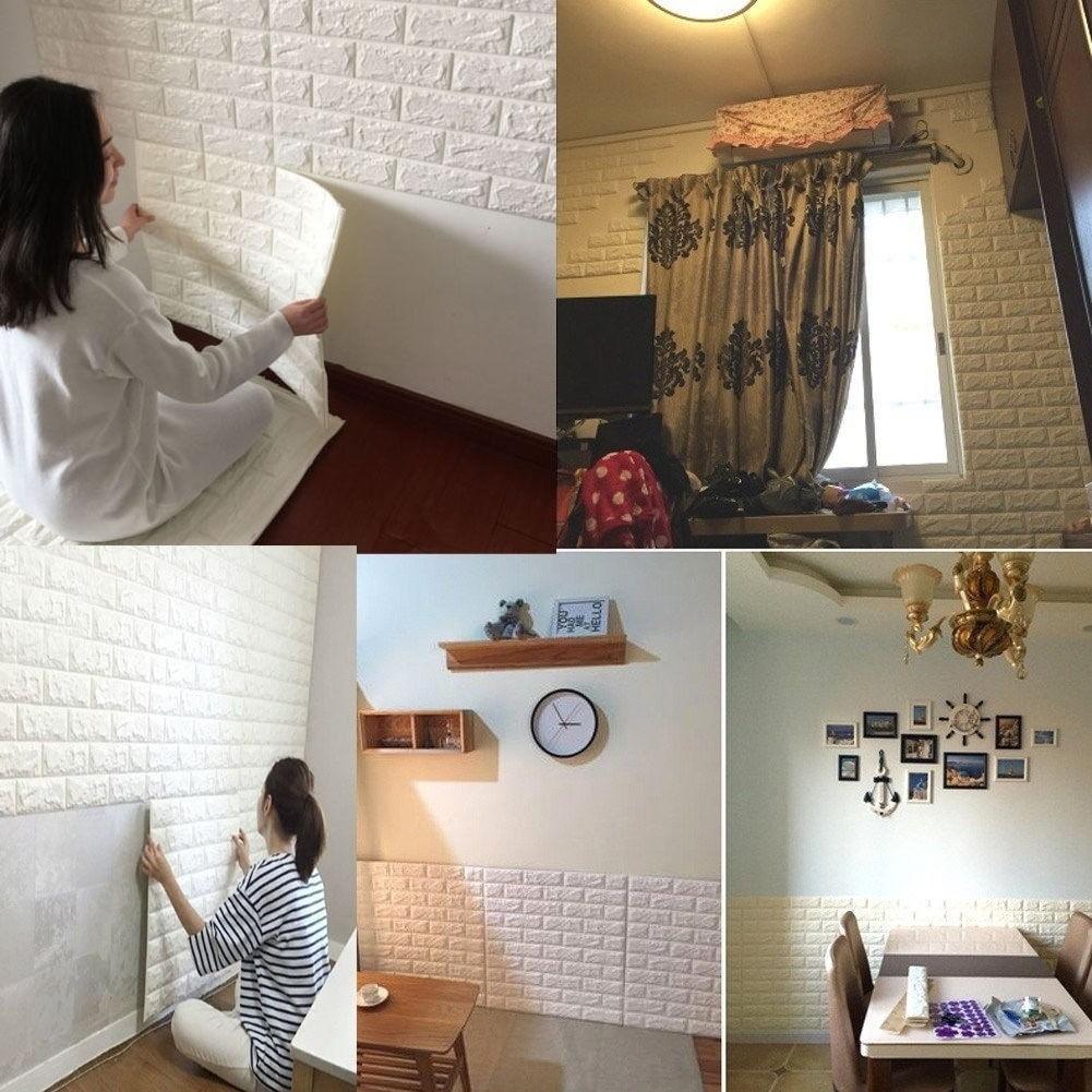 Wallpaper Dinding Motif Batu Bata 3D Untuk Ruang Tamu Kamar Tidur