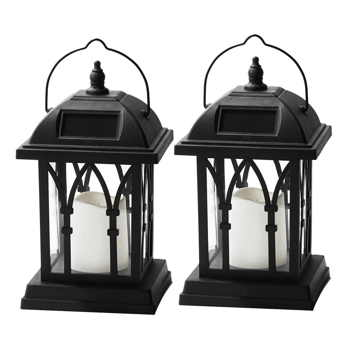 Picture of: 2 Pack Outdoor Hanging Solar Lantern Lantern With Solar Powered Led Candle Dusk To Dawn Timer Table Top Patio Lighting Shopee Indonesia