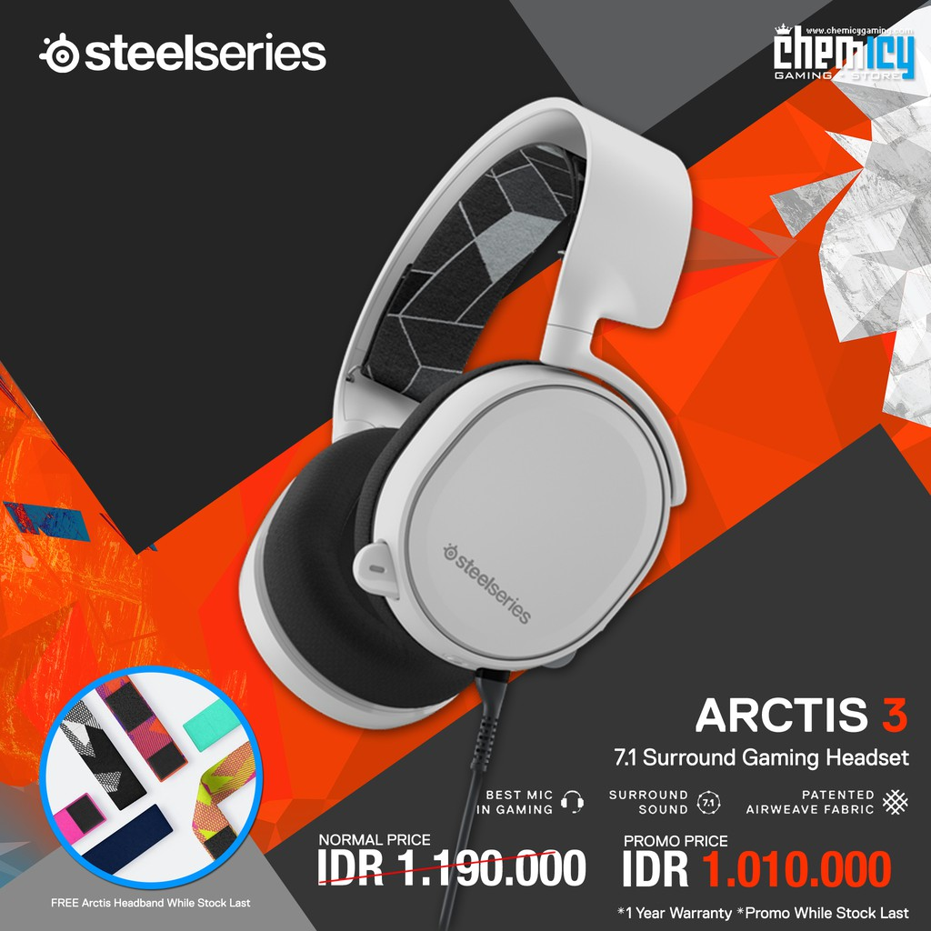 Steelseries Arctis 3 White With 71 Surround Shopee Indonesia Sades Knight Pro Bongiovi Gaming Headset