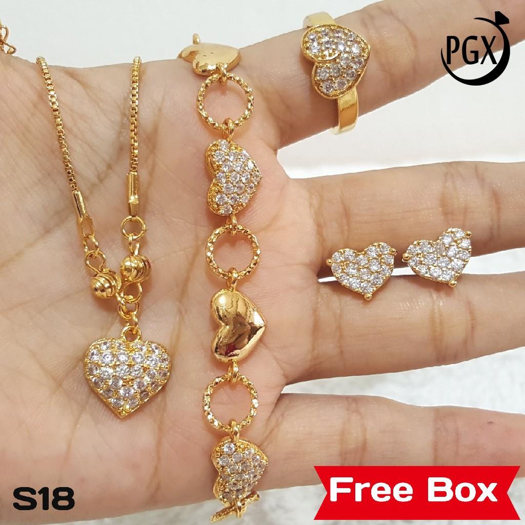 S1 Set Perhiasan Imitasi Xuping Lapis Emas - Paket Cincin Anting Kalung Paling Dicari   Shopee Indonesia