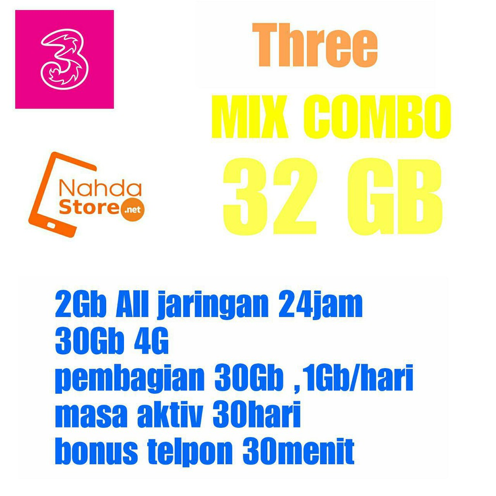 Voucher Tri 1gb Paket Data Three Internet Bonus 4g Kuota Aon Shopee Indonesia