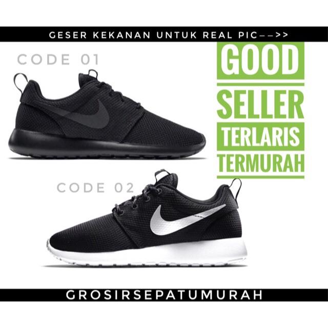 PROMO Sepatu Nike Roshe run Full Black hitam putih Sepatu Kuliah Wanita dan  Pria Termurah Rosherun  2ece3c7e9b
