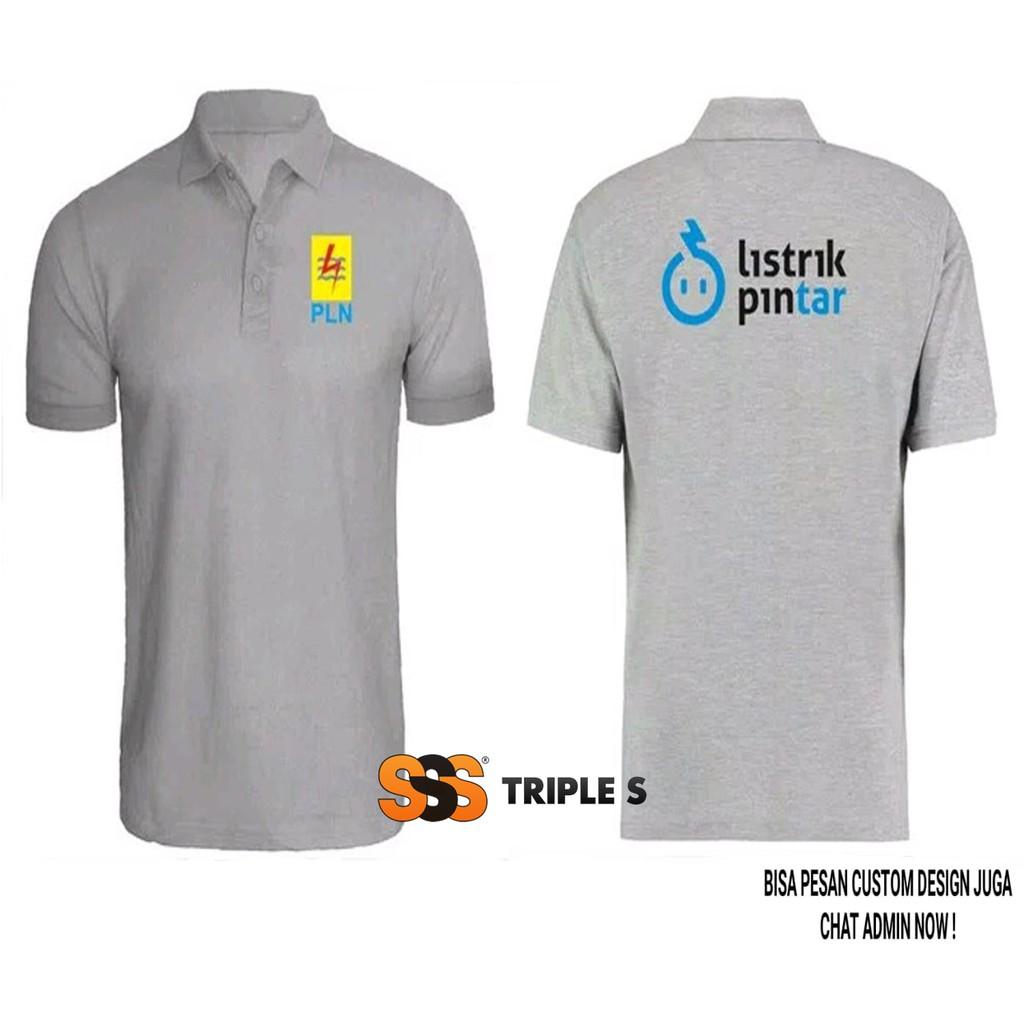 Polo Shirt Listrik Pintar Pln Sablon Depan Belakang Kaos Kerah Pln Bahan Katun Premium Shopee Indonesia